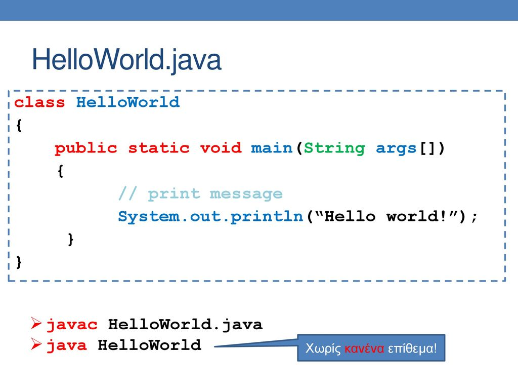 HelloWorld.java class HelloWorld { public static void main(String args[]) // print message System.out.println( Hello world! ); }